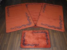 ROMANY GYPSY WASHABLES TRAVELLERS MATS THICK SET OF 4 MATS/RUGS TERRA/BLACK NEW